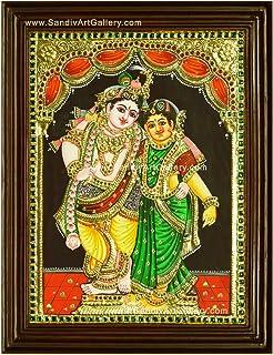 Sandiv Art Gallery Krishna Rukmani Tanjore Painting – 22 Carat Gold Krishna Tanjore Painting – Krishna Photo Frame on Wall...