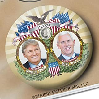 Best Donald Trump 3 Inch Large Button - Gold Jugate Photo with Mike Pence Review