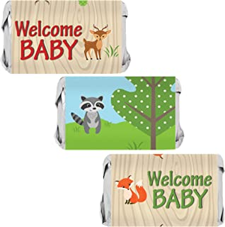 Woodland Animals Baby Shower Mini Candy Bar Wrappers - 45 Stickers