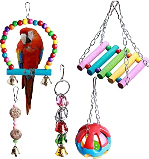 XQINCAI 5 Pcs Pet Bird Parrot Cage Toy Set,Swing Bell String Hammock Rattan Ball Bite Climb Playthings Pet Bird Cage Suppl...