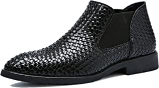 LangfengEU Printemps Automne Hommes Bottes en Cuir Simples Mode Homme Chelsea Bottines Coiffeur Chaussures de Travail sans...