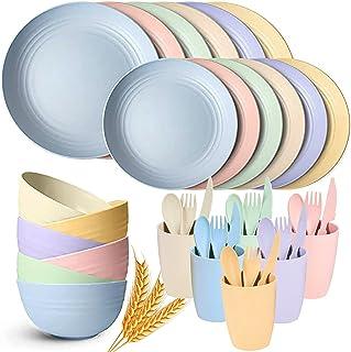 Ensemble de Vaisselle en Paille de Blé 42 Pièces, Service de Table Moderne, bol, Plate, Tasses, Vaisselle Pour Pique-Niqu...
