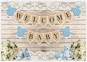 Allenjoy Rustic Welcome Baby Backdrop Background for boy Boys Birthday Picnic Party Dessert Candy Cake Table Decor Decoration Floral Baby Shower Banner Photo Shoot Booth