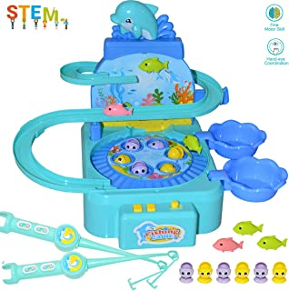 Kids Fishing Game Toy with Music, Rotating Fishing Board with 6 Fish, 3 Magnetic Dolphins Playing on Slideway, Interactive Toy for Children Gift Boys/Girls