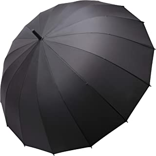 QUEENSHOW Extra Large Couple Travel Umbrella Straight Handle Durable Big Sport Umbrella 16 Ribs for Adults, Black