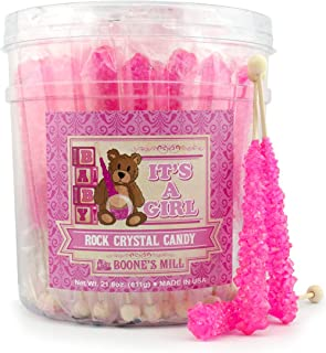 Gender Reveal Rock Crystal Candy Sticks   It's A Girl   36 Count Pink Cotton Candy   Boone's Mill
