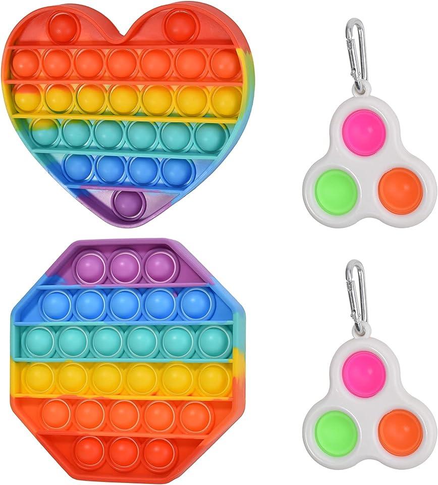 Willingood Push Pop Bubble Sensorisches Fidget-Spielzeug-Set, Simple Dimple Fidget Toy pop it Fidget Regenbogen Farbe Squeeze Sensory Toy für Stressabbau Kinder und Erwachsene, Autismus und ADHS