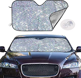 Front Car Sunshade Windshield White Glitter Sequins Auto Shade for Car Foldable UV Ray Reflector Auto Front Window Sun Shade Visor Shield Cover, Keeps Vehicle Cool (51.2