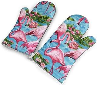YUHUJUKU Flamingos Turquoise Heat Insulation Gloves, A Pair of Gloves, A Heat Insulation Mat.(1.6 Inches Thick)