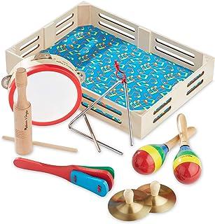 "Melissa & Doug Band در جعبه کلاه! کلنگ ضربه زدن! آلات موسیقی (ابزارهای مختلف، جعبه ذخیره سازی چوبی، مجموعه 10 قطعه، 3 ""H x 11.3"" W x 14.9 ""L)"