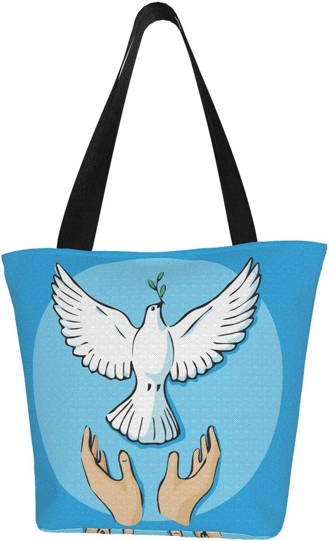 Blue Release Dove Olive Branch Themed Printed Women Canvas Handbag Zipper Shoulder Bag Work Booksbag Tote Purse Leisure Hobo Bag For Shopping