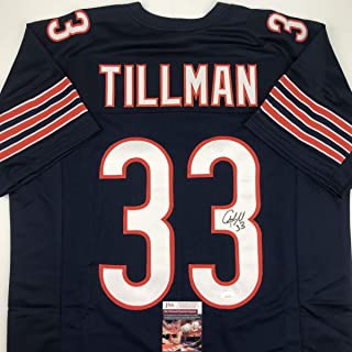 Autographed/Signed Charles Tillman Peanut Chicago Blue Football Jersey JSA COA
