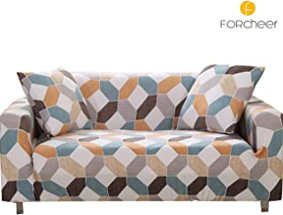 FORCHEER Stretch Sofa Slipcover Printed Pattern 2-Seat Spandex Couch Cover for 3 Cushion Couch 1 Piece Furniture Protector for Living Room, Pets, Loveseat