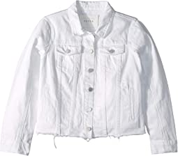 White Jean Jacket with Raw Hem Detail in Lightbox White (Big Kids)