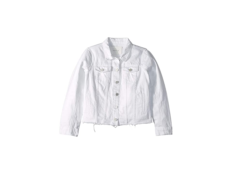 Blank NYC Kids White Jean Jacket with Raw Hem Detail in Lightbox White (Big Kids) (Lightbox White) Girl
