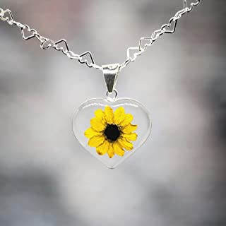 Sterling HEART Necklace with a Real Natural Miniature SUNFLOWER (Symbol of Happiness and Light) in a TRANSPARENT Background with a 17.71 inches Sterling Silver HEARTS Chain - Perfect LOVE GIFT