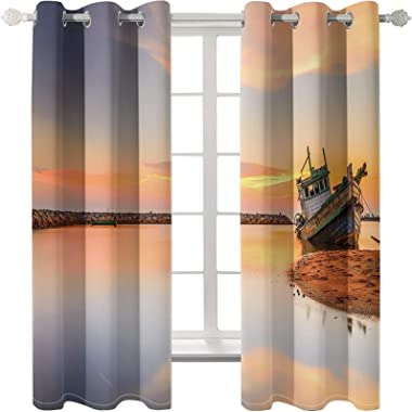 Epinki Polyester Curtains Orange River Boat Window Drapes for Living Room, Available in 21 Sizes, Size 274x244CM