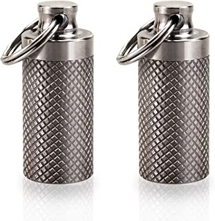 Tisky Keychain Pill Holder,Portable Titanium Waterproof Pill Box Container,Mini Pill Case for Outdoor Travel Purse or Pocket(2PCS)