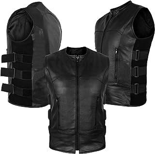 2Fit Men's Swat Motorcycle Biker Leather Vest with Adjustable sides