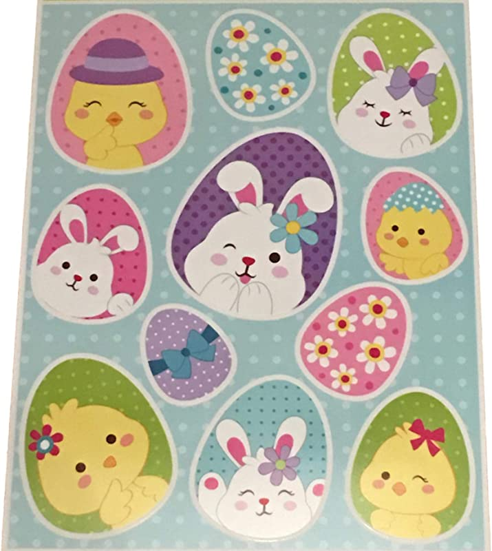 Plum Nellie S Treasures Easter Window Decals Glitter Stickers Easter Spring Decorations Bunnies Eggs Chicks Truck Of Carrots Easter Eggs Chicks Bunny Designs