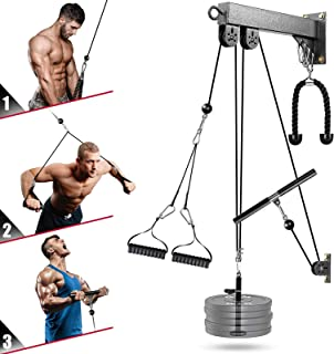 Elikliv Cable Pulley System Gym, LAT Pulldown Machine Attachments with Loading Pin, Gym..
