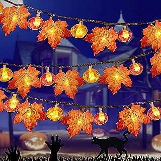Łańcuch świetlny z liśćmi klonu, dekoracja jesienna, dekoracja na Halloween, idealny łańcuch świetlny, dekoracja na Boże N...