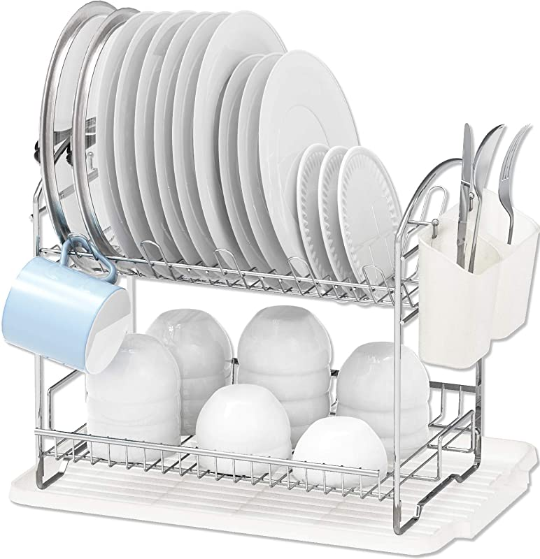 Simple Houseware 2 Tier Dish Rack With Drainboard Chrome