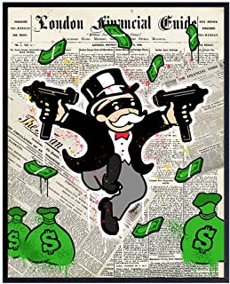 Shooting Monopoly Man Graffiti Art - 8x10 Urban Gangsta Dictionary Decor Poster Print - Wall St Room or Home Decoration for Bedroom, Dorm, Man Cave, Game or Living Room - Cool Gift for Banker, Teens