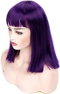 short dark purple wig