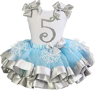 Girls Blue Silver Snowflake Satin Tutu Princess 5th Birthday Outfit