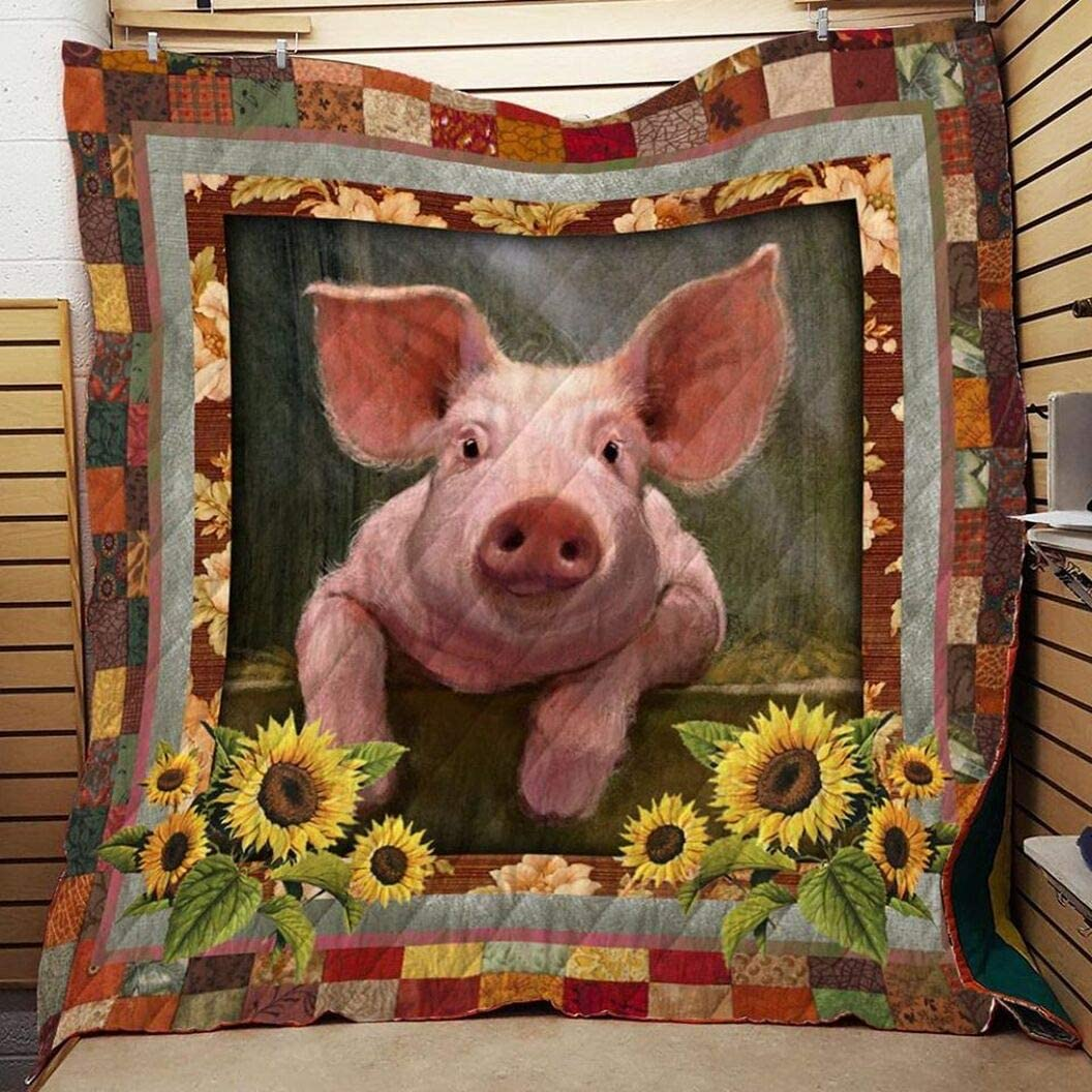 Personalized Selling Pig Cute with Sunflower Custom Don't miss the campaign Quil Your Quilt
