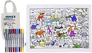 Doodle Dinosaur Placemat to go, Color Your Own Placemat to go, Coloring Placemat to go with Washable Fabric Markers