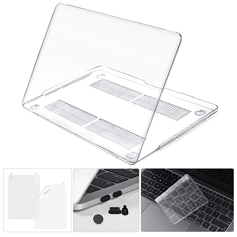 CaseBuy 4-in-1 MacBook Air 13-inch Case A1932 2018 Release Soft-Touch Case with Keyboard Cover, Trackpad Protector, Dust Plugs Port for New MacBook Air 13-inch with Touch ID, Crystal Clear