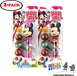 Disney Mickey Mouse and Minnie Mouse Pop Ups Lollipop Case Holder with Chupa Chups Lollipops and 2 Gosu Toys Stickers (2 pack)