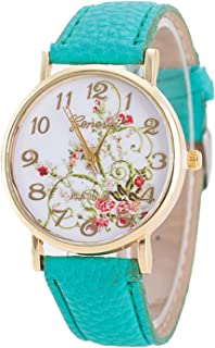 Womens Flower Watches,COOKI Unique Analog Fashion Clearance Lady Watches Female Watches on Sale Casual Wrist Watches for Women,Round Dial Case Comfortable PU Leather Watch-H34