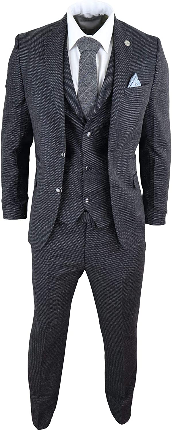 Men's Vintage Clothing | Retro Clothing for Men Mens Wool 3 Piece Suit Tweed Charcoal Black Tailored Fit Classic  AT vintagedancer.com