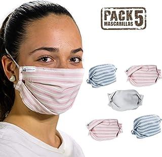 tapidecor Pack 5 Mascarillas Tela Lavables Reutilizables 3
