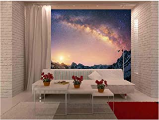 wall26 - Spectacular Night View in Mountains with The Milk Way - Removable Wall Mural | Self-Adhesive Large Wallpaper - 66x96 inches