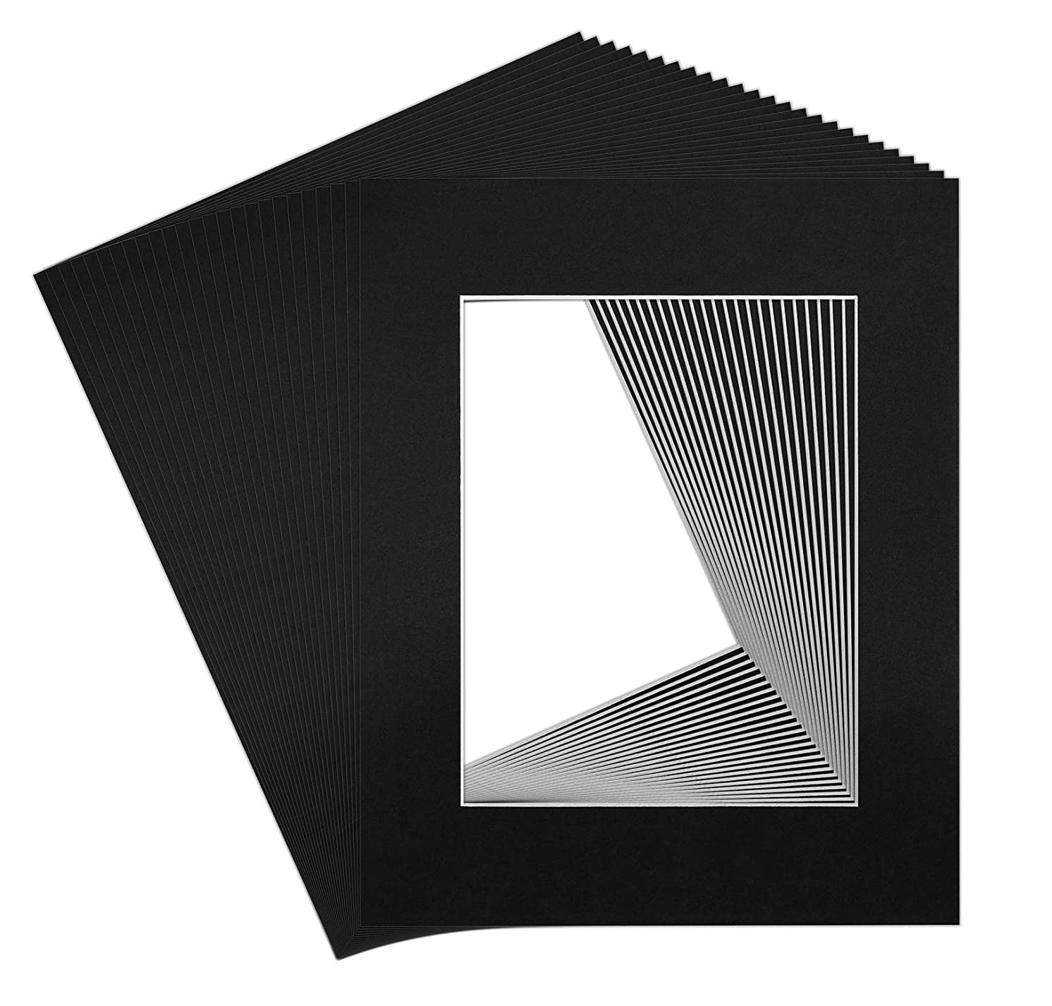 Golden State Art, Pack of 25, Acid-Free Black Pre-Cut 16x20 Picture Mat for 11x14 Photo with White Core Bevel Cut Frame Mattes