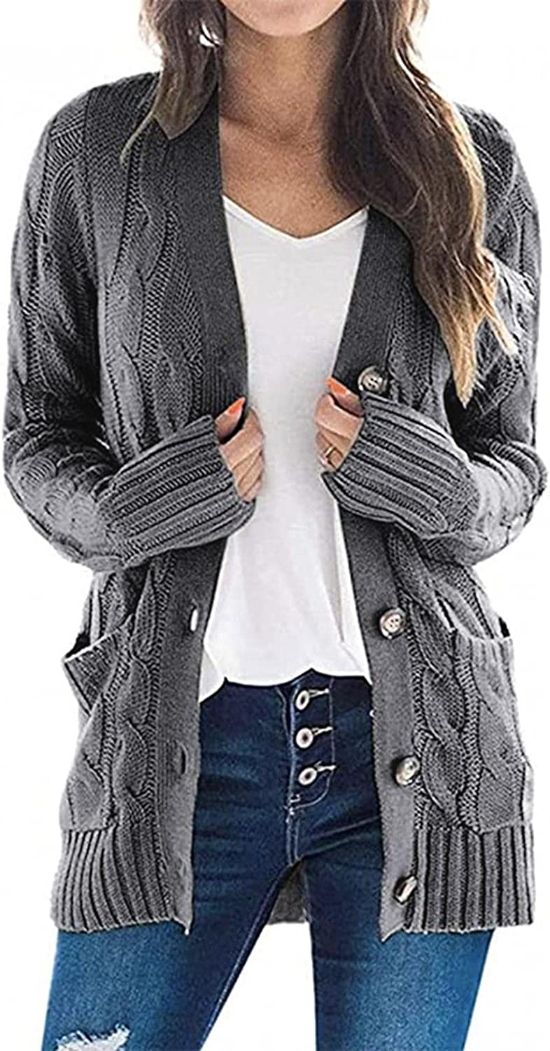Cardigan for Women Long Sleeve Casual Button Down Outwear Sweater Cable Knit Solid Color Loose Fit Jacket with Pocket