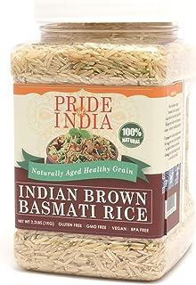 Pride Of India - Extra Long Brown Basmati Rice - Naturally Aged Healthy Grain, 3.3 Pound (1.5 Kilo) Jar (2.2 Pound + 50% E...