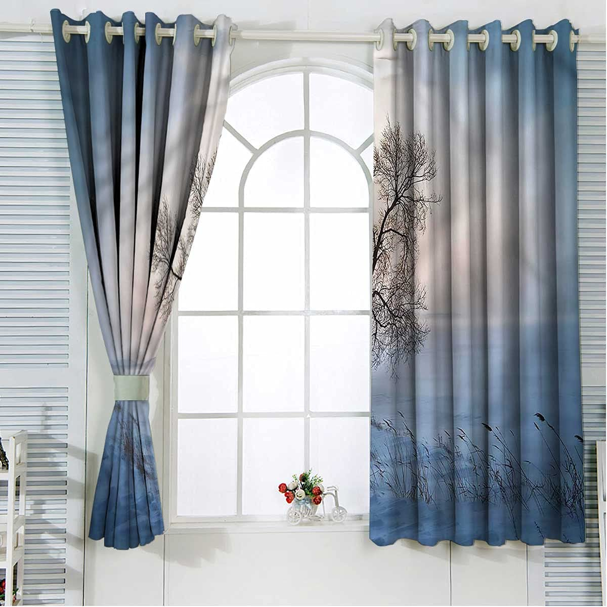 Nature Fashion Blackout Popular overseas Curtain Liners 108 Inch Sno Tree Cold Length ICY