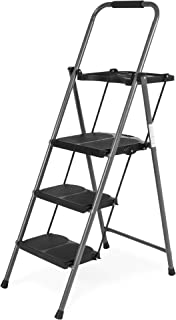 Best Choice Products Best Choice Folding Steel 3-Step Stool Ladder Tool Equipment w/Hand..