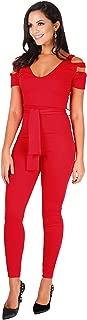 Womens Fashion Cut Out Shoulder High Waist Jumpsuit Rompers Pants 4-14 Plus Size