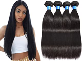 INNATE COLLECTION CHARIS Brazilian Virgin Straight Human Hair Bundle for Black Women 100% Unprocessed Remy Human Hair Extension Weave Hair Natural Color 95-100g/pc(14