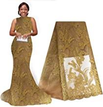 pqdaysun African Lace Fabric 5 Yards 2019 Nigerian Swiss Lace French Lace Fabric Embroidered Fabric for Wedding Party F50670 (Gold)
