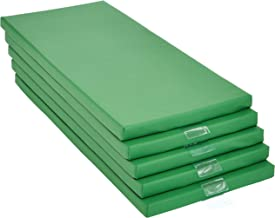 AmazonBasics Memory Foam Rest Nap Mats with Name Tag Holder, Green, 5-Pack