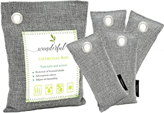 Wonderful Bamboo Charcoal Air Purifying Bag (5 Pack) Bundle, Odor Absorber for Home,Closet Freshener, Car Air Purifier,Sho...