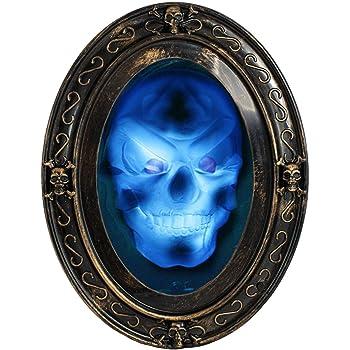 Amazon De Trixes Sprechender Spiegel In Schwarz Und Gold Ovaler Halloween Spiegel Mit Gruseligen
