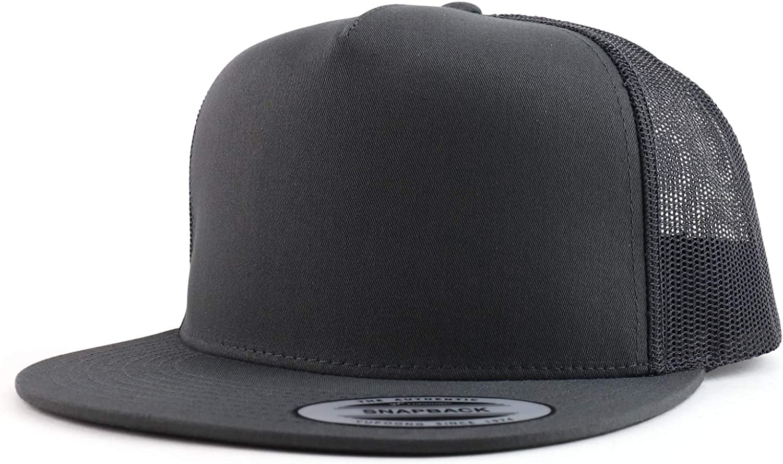 Trendy Apparel Shop Flexfit Oversize XXL Structured Blank 5 Panel Flatbill Snapback Mesh Cap